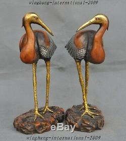 Old Chinese Gilt Silver Bronze longevity Lucky Bird Red-crowned Crane Hok StAtue