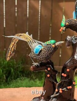 Old Chinese Gilt Silver Cloisonne Enamel Love Birds Coral Turquoise Wood Statue