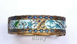 Old Chinese Gilt Silver Enamel Bangle Bracelet Bamboo Lotus Flower Frog Marked