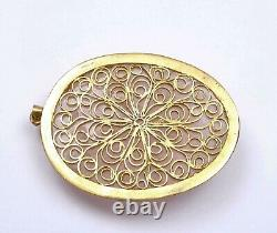 Old Chinese Gilt Silver Rose Quartz Carved Carving Pendant with Flowers
