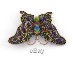 Old Chinese Gilt Silver Vermeil Enamel Genuine Lapis Lazuli Brooch
