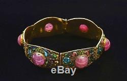 Old Chinese Gilt Sterling Silver Enamel Pink Tourmaline Carved Carving Bracelet
