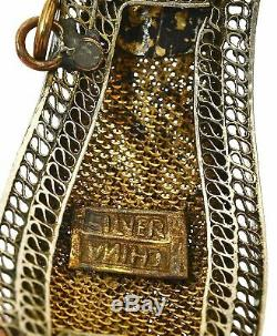 Old Chinese Gilt Sterling Silver Filigree Jade Jadeite Carved Flower Bracelet Mk