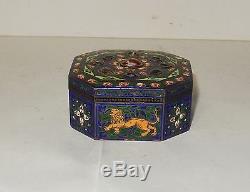 Old Chinese Gold Gilt Silver Cloisonne Repousse Enamel Lion Design Jar Box