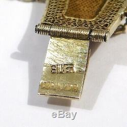 Old Chinese Silver Gilt Carved Jade Enamel Bracelet