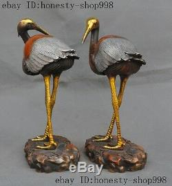 Old Chinese bronze gilt Silver longevity Red-crowned Crane Bird Statue Pair A
