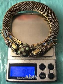Old Chinese export gold gilted silver enamel jade dragon bangle JL 070820cBH@