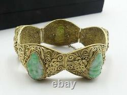 Old Chinese gold plate silver filigree & carved jade GuanYin bracelet W box
