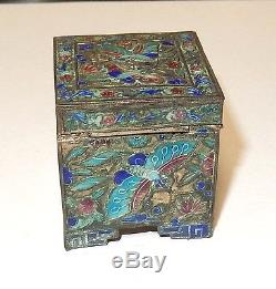 Old Silver Gilt Cloisonne Repousse Enamel Chinese Butterfly Stamp Jar Box