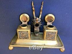 Old Tuck Chang Chinese Export Gilt Solid Silver Inkwell Ink Well Deskset Dragon