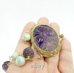 Old gold plate silver chain & antique Chinese jade beads with carved amethyst o