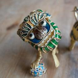 PAIR OF CHINESE VERMEIL SILVER GILT CLOISONNE FOO DOGS / GUARDIAN LIONS. 7.5cm