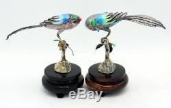 Pair Of Vintage Chinese Sterling 925 Gilt Silver Filigree Enamel Bird Figurines