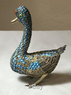 Pair of 2 Antique Chinese Export SILVER Enamel Filigree Gold Gilt Ducks with Box
