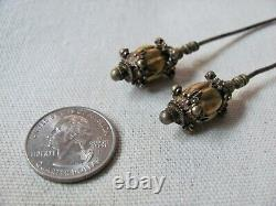 Pair of Antique Chinese Ching Period Silver Peranakan Hairpins / Hairspikes