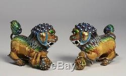 Pair of Chinese Gilt Silver & Enamel Foo Dogs Original Republic Era Box Mint