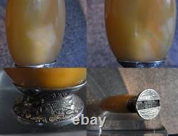 QING Agate Chinese Snuff Bottle Coral Silver Gold by MAQUET Striker Lighter 19th