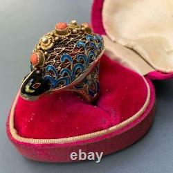 RARE MASSIVE Vintage Chinese Gold gilt Silver Filigree Coral Enamel Turtle Ring