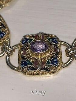 Rare And Beautiful Antique Chinese Silver Gold Gilded Enamel Gemstone Bracelet