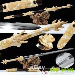 Rare Chinese Dragon Sword 24K Gold+Silver Fitting Clay Tempered Pattern Steel