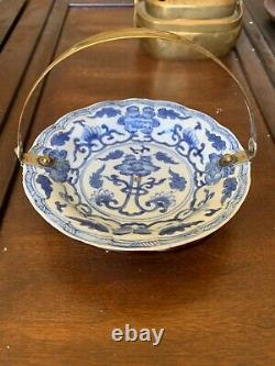 Rare Chinese Qing Kangxi White-Blue Porcelain DIsh/Plate w Gilded Silver Handle