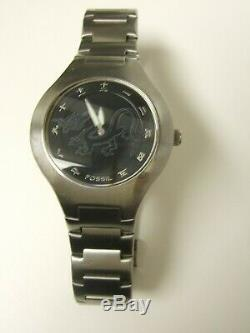 Rare Men's Fossil Jr7997 Chinese Asian Kanji Analog/digital Dragon Watch -preown