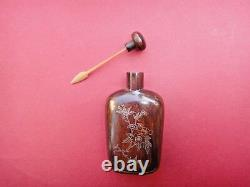 Rare antique chinese gold & silver inleyed wooden snuff bottle perfect