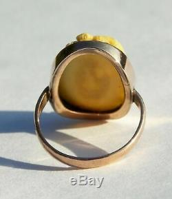 Rrare Victorian 9ct Rose Gold Oval Carved Ring Chinese Scene Depicting Figures