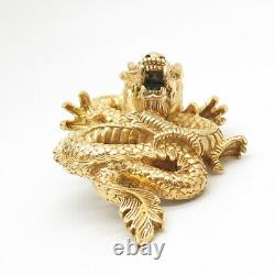 SOM'S 925 Sterling Silver Gold Plated Chinese Dragon Slide Pendant