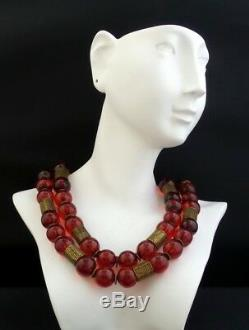 SPECIAL Vintage CHINESE Gilt Sterling Silver Cherry Amber Bakelite 2 Stand Neck