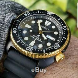 Seiko JAPAN Made SE Gold Ring Black Ninja Turtle Watch Chinese Kanji Day Wheel