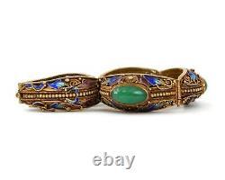 Silver Gilt, Jade & Enamel Chinese Export Bracelet