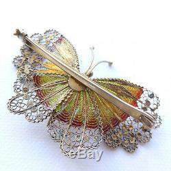 Silver Gilt and Enamel Butterlfy Brooch Huge Vintage Chinese Export 2 1/2 +