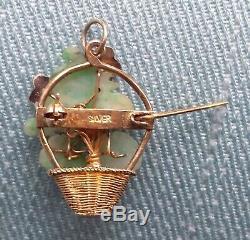 Spilla Ciondolo Argento Silver Gilt Jade Enamel Vintage Chinese Brooch Pendant