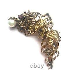 Sterling Silver Chinese Dragon Pearl Ruby Gold Vintage Pin / Brooch