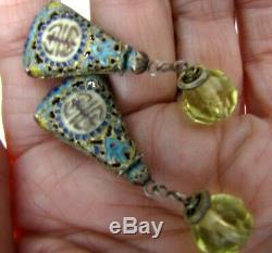 Sterling Silver Gold Gilt Enamel Chinese Export Earrings Shou Filigree Citrine