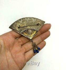 Sterling Silver Gold Gilt Enamel Chinese Export Fan Pin with Lapis Lazuli