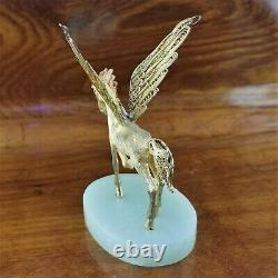SuHai CHINESE CLOISONNE Sterling Silver & 24K Gold Gilt Enamel PEGASUS Jade Base