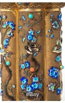 Superb Chinese Filigree Sterling Silver Enamel Coral Bird Tea Caddy Jar Box Supe