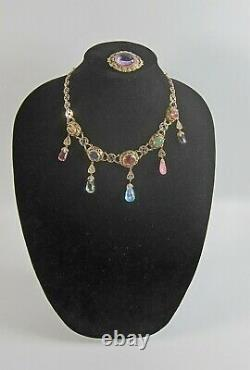 Superb Vintage Chinese Export Silver Gilt Filigree Multi-stone Necklace & Pin