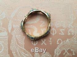 Superb antique Chinese filigree gilt silver, enamel and Amethyst bracelet