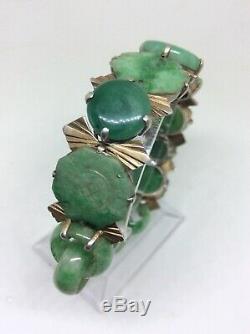 Superb c1920 Art Deco Chinese Jade Silver Gilt Bracelet