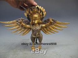 Tibet Pure Bronze 24K Gold Silver-Gilt Garuda bird Wall hanging Buddha Statue