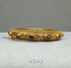 Tiger Eye Silver Bracelet Chinese Bangle Vintage Gilt Vermeil Filigree