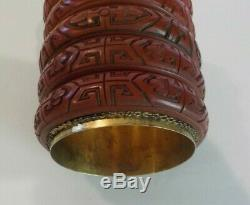 Unusual Chinese Carved Cinnabar on Gilt Silver Box, Cloisonne Lid