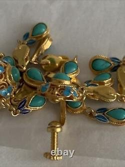 VINTAGE Asian Chinese Export Turquoise 925 Gold Wash STERLING SILVER EARRINGS