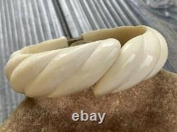 VINTAGE Carved Cream Celluloid HINGED Clamper BRACELET Chinese Gilt Silver