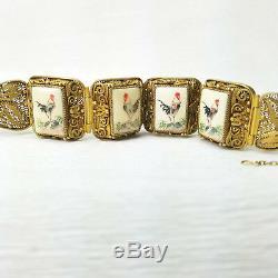 VTG Chinese Export Rooster Etched Scrimshaw Style Silver Gilt Filigree Bracelet