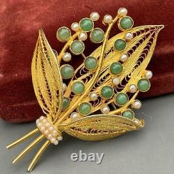 VTG Chinese Gold Gilt Silver Filigree Floral Chrysoprase Seed Pearls Pin Brooch