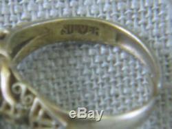 VTG Chinese Sterling Silver Carved Flower Green Jade Gilt Ring Adjustable Export